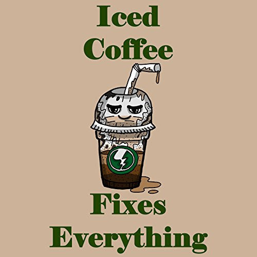 'Iced Coffee Fixes Everything' Food Humor Cartoon - Vinyl Sticker