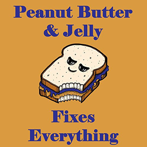 'Peanut Butter & Jelly Fixes Everything' Food Humor Cartoon - Vinyl Sticker