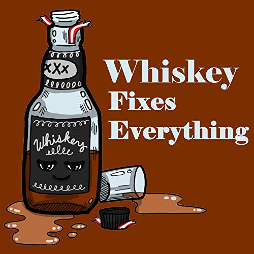 'Whiskey Fixes Everything' Food Humor Cartoon - Vinyl Sticker