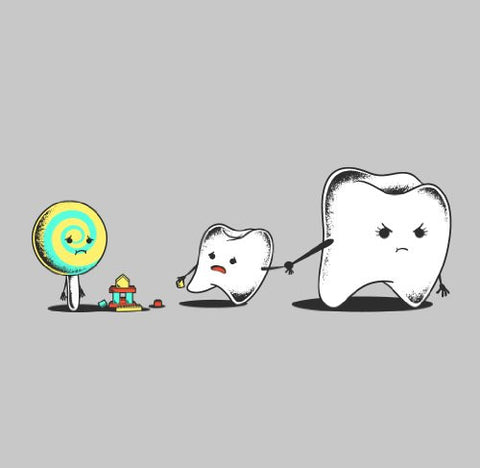 'Bad Friend' Teeth and Lollipop Funny Parody Vinyl Sticker