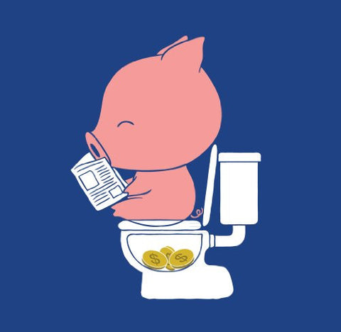 'Cha Ching' Pig Pooping Coins in Toilet Funny Parody Vinyl Sticker