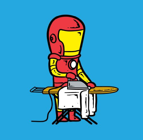 'Part-time JOB Laundry Shop' Funny Parody Super Hero Ironing Clothes Vinyl Sticker