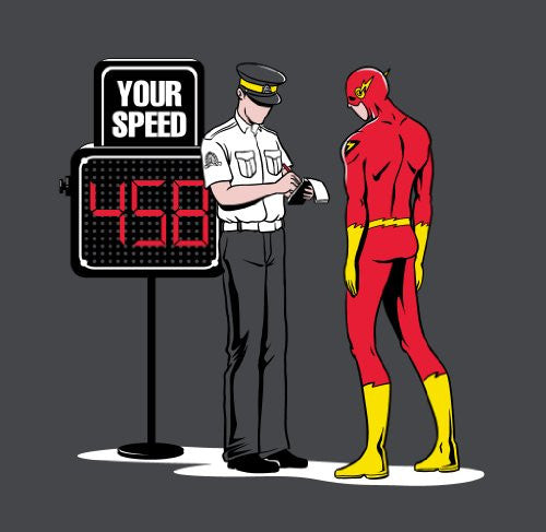 'Speed Trap' Funny Parody Super Hero Getting Speeding Ticket Vinyl Sticker