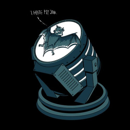 'I Hate My Job' Super Hero Comic Parody Bat on Spotlight - Vinyl Sticker