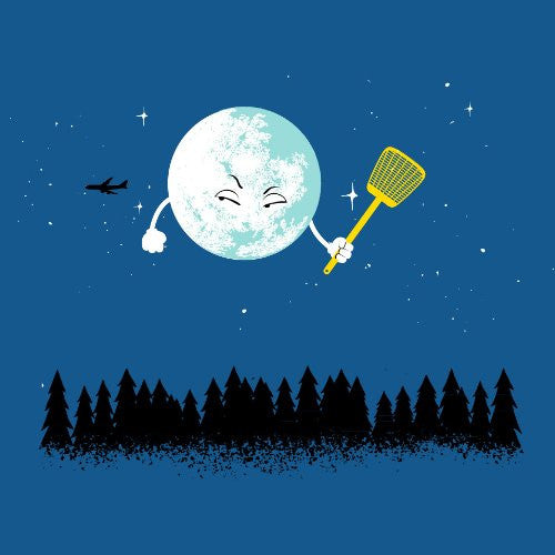 'Disturbing Fly' Funny Cartoon Moon w/ Flyswatter Aiming at Airplane - Vinyl Sticker