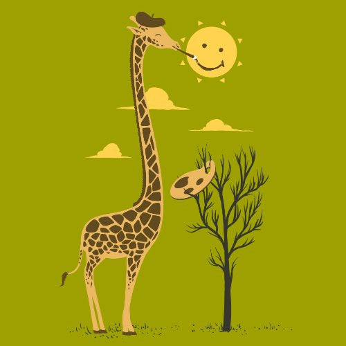 'Painting Smiley' Funny Cartoon Giraffe Artist Painter & Sun Smiling - Vinyl Sticker