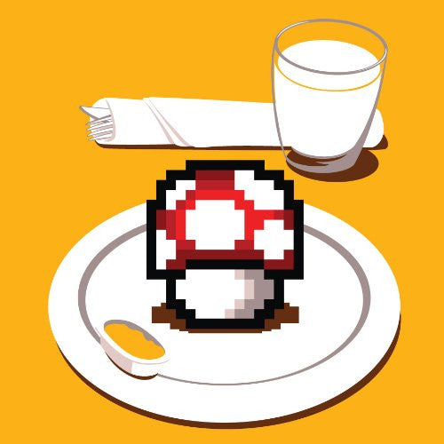 'Nutritious Breakfast' Funny Video Game Parody Mushroom on Plate - Vinyl Sticker