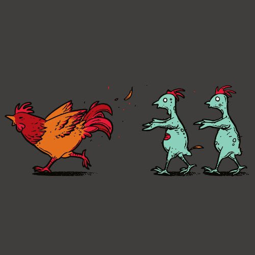 'Zombie Attack' Funny Rooster Chicken Running From Zombies - Vinyl Sticker