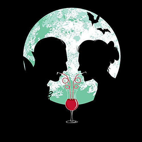 'Bloody Couple' Vampire Date Silhouettes w/ Moon & Bats - Vinyl Sticker