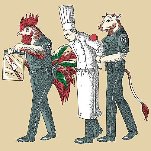 'Murder Chef' Funny Vegetarian Humor Chicken & Cow Police - Vinyl Sticker