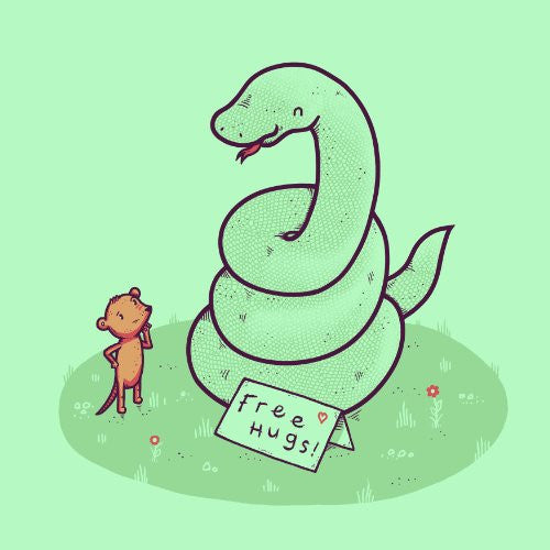 'Free Hugs' Funny Coiled Snake Offering Free Hugs to Mouse - Vinyl Sticker