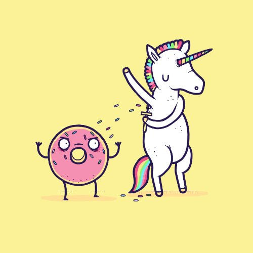 'How Donuts Get Sprinkles' Funny Unicorn Shaving Armpits Onto Doughnut - Vinyl Sticker