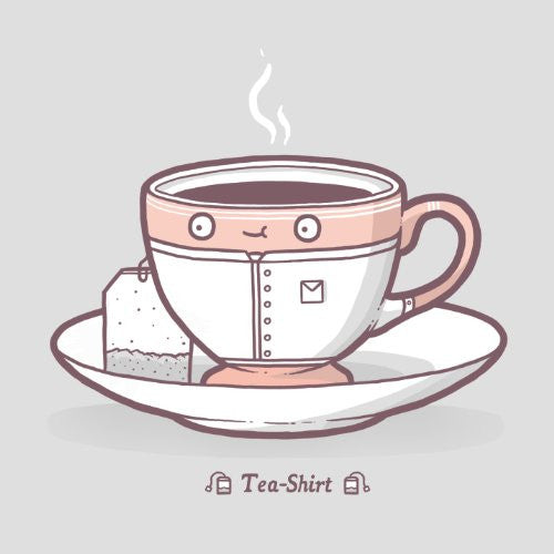 'Teashirt' Funny Cup of Tea w/ Shirt Design - Vinyl Sticker