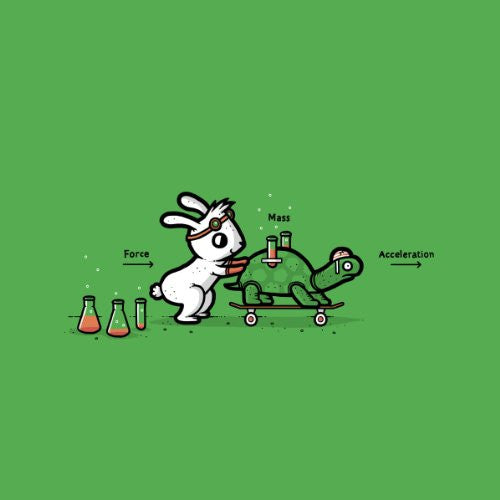'Using Force' Funny Bunny Rabbit & Turtle Physics Humor - Vinyl Sticker