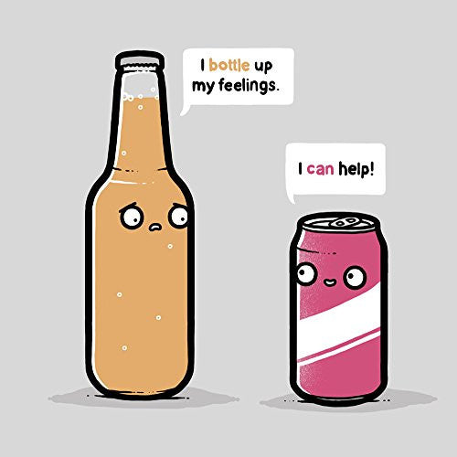 'Bottled Up' Beverage Feelings Humor - Vinyl Sticker