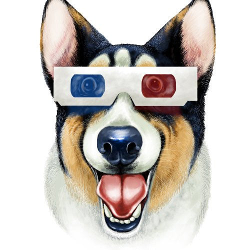 'Corgi 3D' Funny Puppy Dog Wearing 3D Movie Glasses - Vinyl Sticker