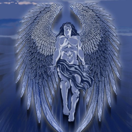 Winged Man Angel Blue Design Artwork - Vinyl Sticker