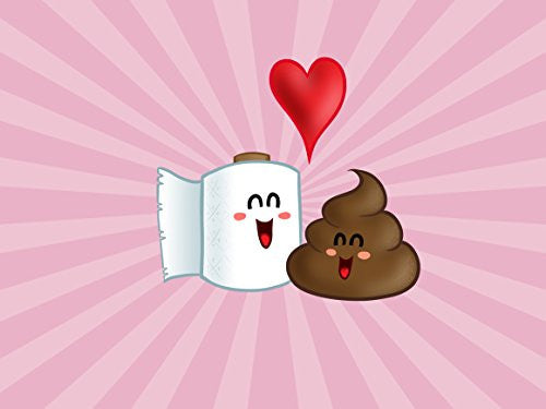 'Best Friends' Funny Toilet Paper & Poop in Love w/ Heart 24x18 - Vinyl Print Poster