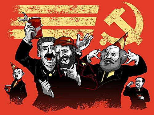 'Communist Party' Funny Pun Famous Communist Leaders Partying 24x18 - Vinyl Print Poster