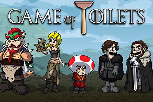 'Game of Toilets' Funny Video Game & TV Show Parody 18x12 - Vinyl Print Poster