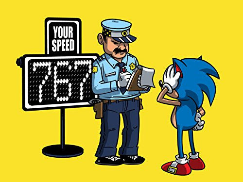 'Speeding Ticket' Funny Video Game Character Parody 24x18 - Vinyl Print Poster