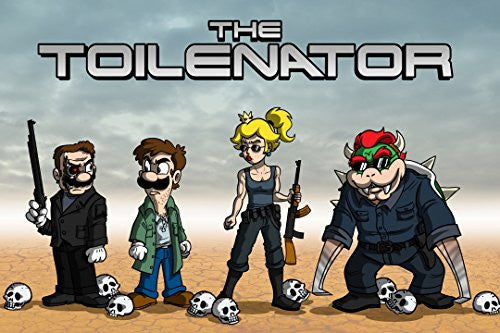'The Toilenator' Funny Robot Movie Parody 18x12 - Vinyl Print Poster