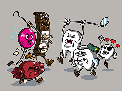 'Candy vs Teeth' Dental Humor 24x18 - Vinyl Print Poster