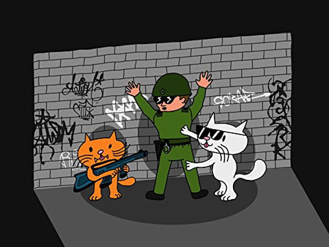 'Bad Cats w/ Cop' Funny Cartoon Tagged Brick Wall 24x18 - Vinyl Print Poster