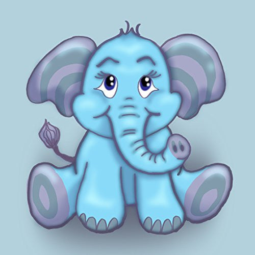 'Cute Lil Elephant' Funny Cute Animal Cartoon 18x18 - Vinyl Print Poster