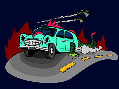 'Dino Car' Funny Dinosaur Lizard Car Cartoon 24x18 - Vinyl Print Poster