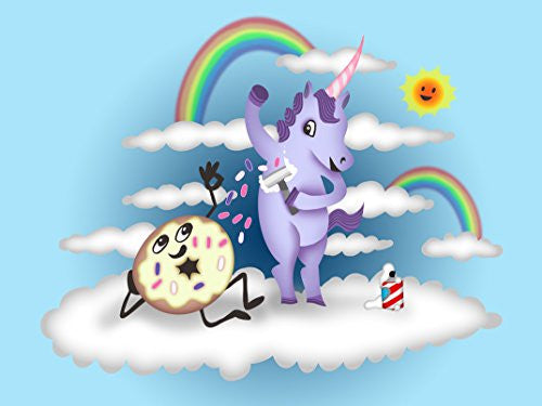 'Donut Unicorn Shaving in Clouds' Funny Mystical Cartoon Artwork 24x18 - Vinyl Print Poster