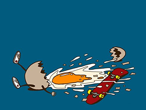 'Egg Skate' Funny Chicken Egg Shattered Yoke After Fall 24x18 - Vinyl Print Poster