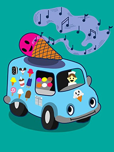 'Ice Cream Truck' Funny Ice Cream Cone Singing 18x24 - Vinyl Print Poster