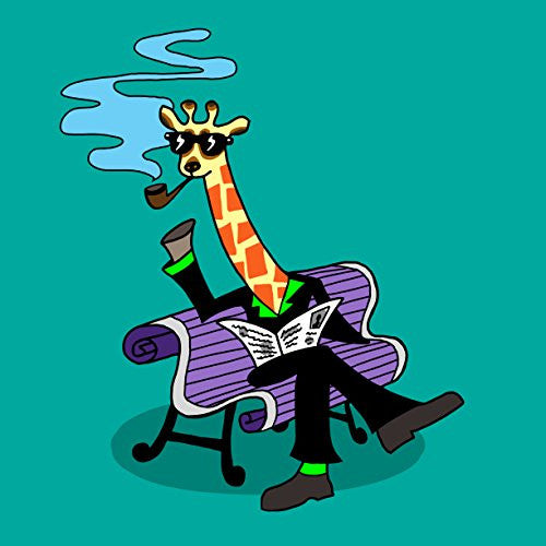 'Mr. Giraffe' Funny Wearing Suit Sitting on Bench 18x18 - Vinyl Print Poster