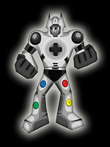 'Playbot' Funny Robot Video Game Controller 18x24 - Vinyl Print Poster