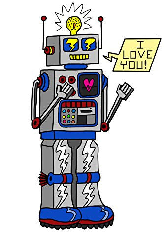 '80's Love Robot' Funny Cute Vintage Robot w/ Feelings 12x18 - Vinyl Print Poster