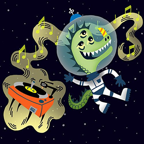 'Rockin Space Dinolizard' Funny Dinosaur Lizard Alien Floating w/ Record Player 18x18 - Vinyl Print Poster
