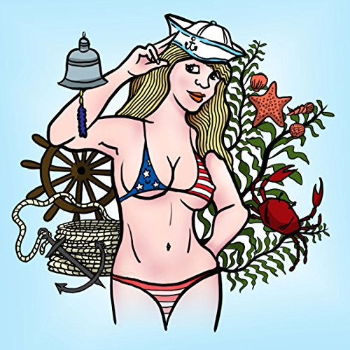 'Hey Sailor' Sexy USA Patriotic Bikini Girl 18x18 - Vinyl Print Poster