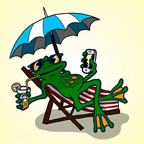 'Chillin Froggy' Funny Tree Frog Sitting w/ Phone & Drink 18x18 - Vinyl Print Poster