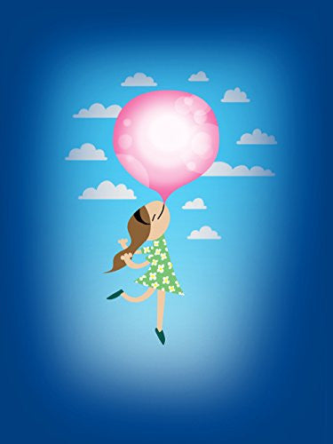 'Bubble Gum Girl' Funny Floating Away 18x24 - Vinyl Print Poster