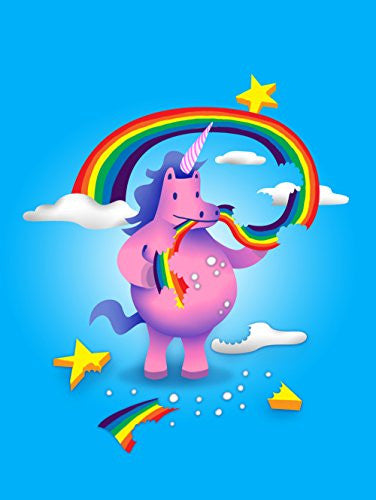 'Unicorn Snack' Funny Mystical Cartoon 18x24 - Vinyl Print Poster