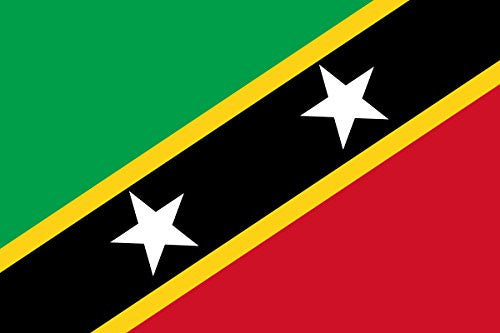 Saint Kitts & Nevis - World Country National Flags 18x12 - Vinyl Print Poster