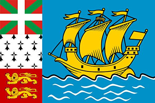 Saint Pierre & Miquelon - World Country National Flags 18x12 - Vinyl Print Poster