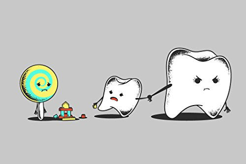 'Bad Friend' Teeth & Lollipop Funny Parody 18x12 - Vinyl Print Poster