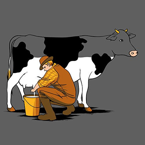 'Milking Out' Funny Man Milking Cow Draining White Color 18x18 - Vinyl Print Poster