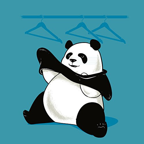 'Outfit' Funny Panda Bear Trying to Put On Clothes 18x18 - Vinyl Print Poster