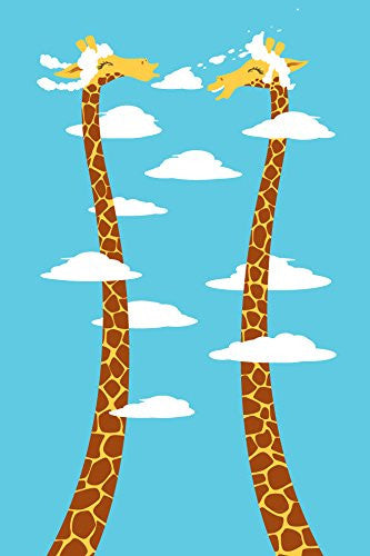 'Cloudy Day' Funny Cartoon w/ Giraffes Long Necks 12x18 - Vinyl Print Poster
