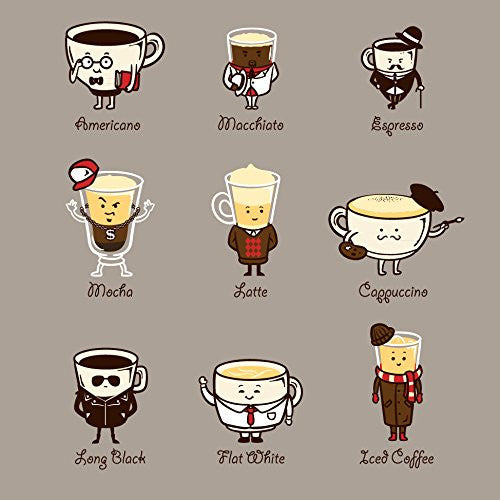 'Coffee Personality' Funny Cartoon Coffee Brew Drink Types w/ Expressions 18x18 - Vinyl Print Poster