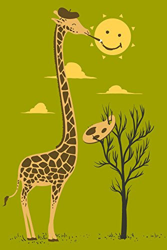 'Painting Smiley' Funny Cartoon Giraffe Artist Painter & Sun Smiling 12x18 - Vinyl Print Poster