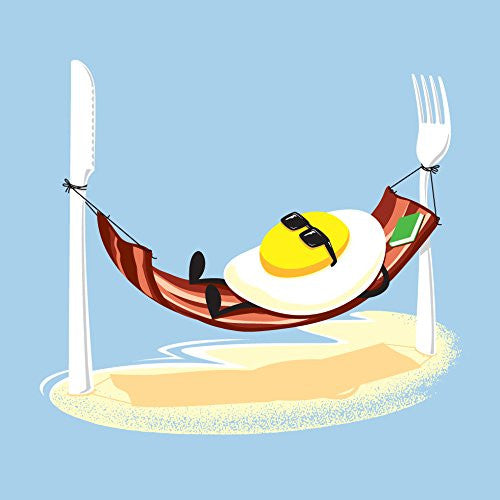 'Good Morning' Funny Egg Sunny Side Up Relaxing in Bacon Hammock 18x18 - Vinyl Print Poster